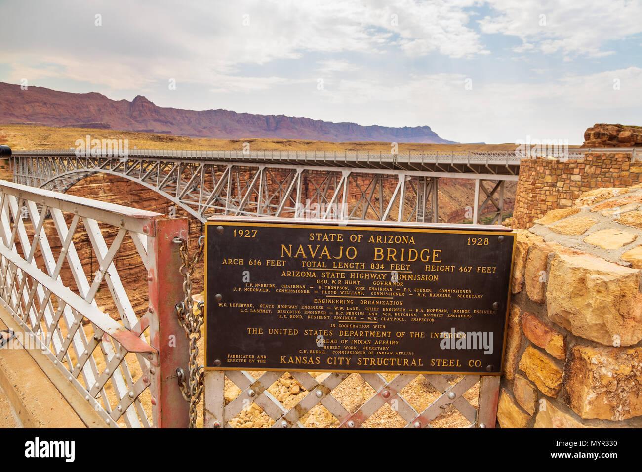 Navajo Bridge, Arizona, USA- 06 September 2017: Historic Navajo Bridge spans Marble Canyon in northern Arizona. Is a pair of steel arch bridges that c - Stock Image