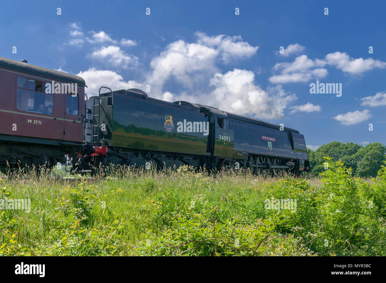 City of Wells steam locomotive Burrs Country Park - Stock Image