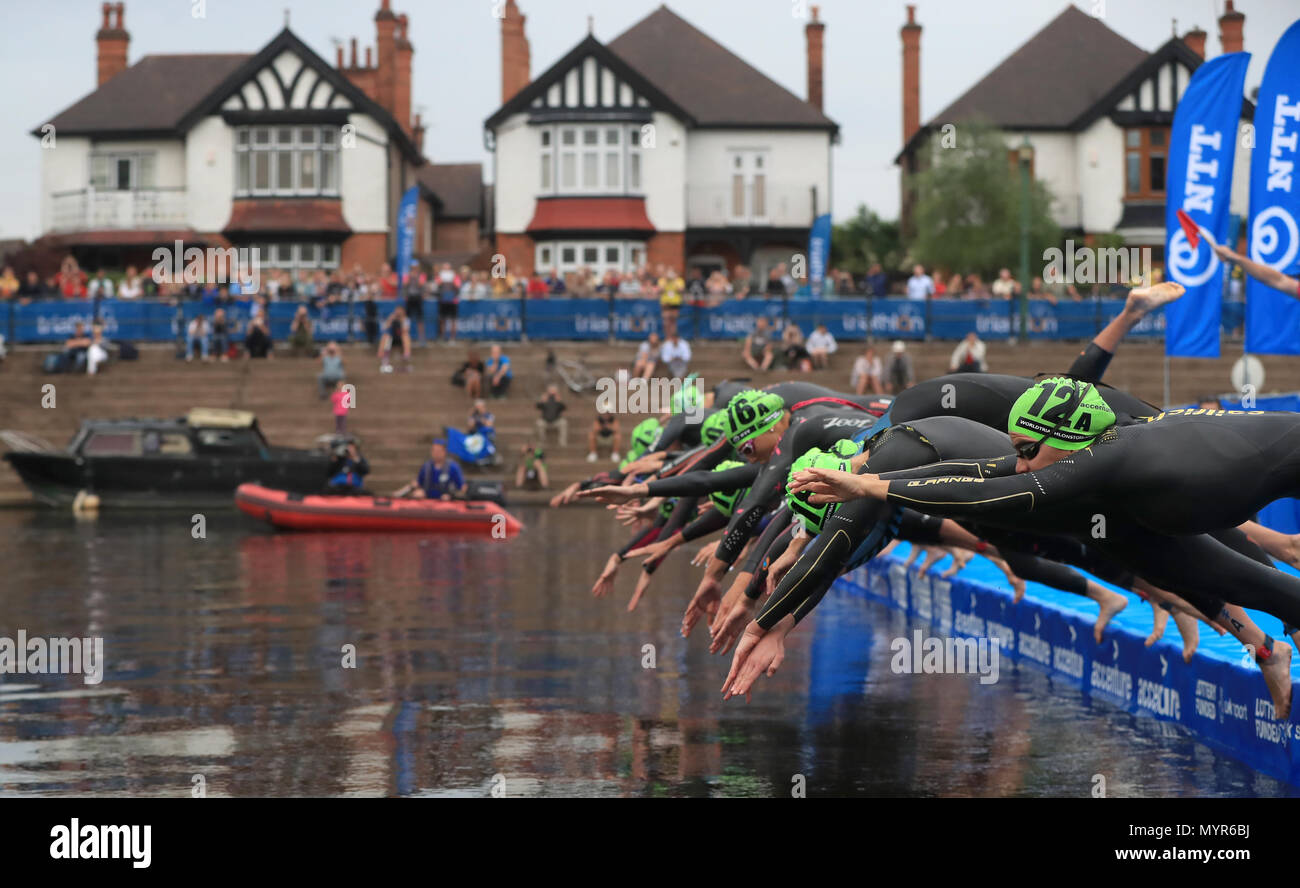 Competitors start the 2018 Accenture World Triathlon Mixed Relay Event in Nottingham. - Stock Image