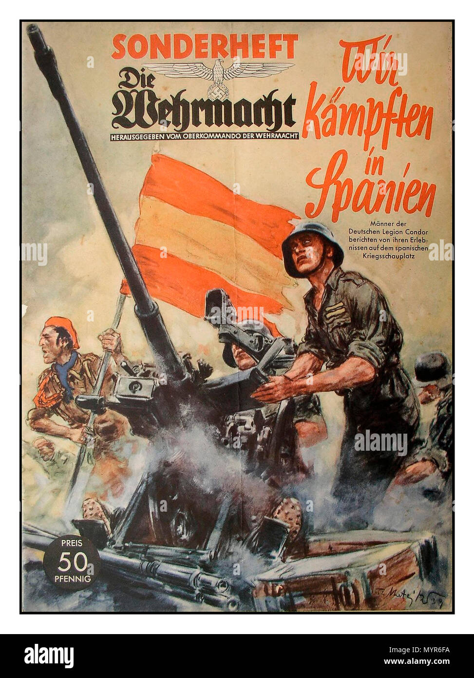 1939 German WW2 Propaganda Magazine Die Wehrmacht. Special Issue. 'We fought in Spain' - Stock Image