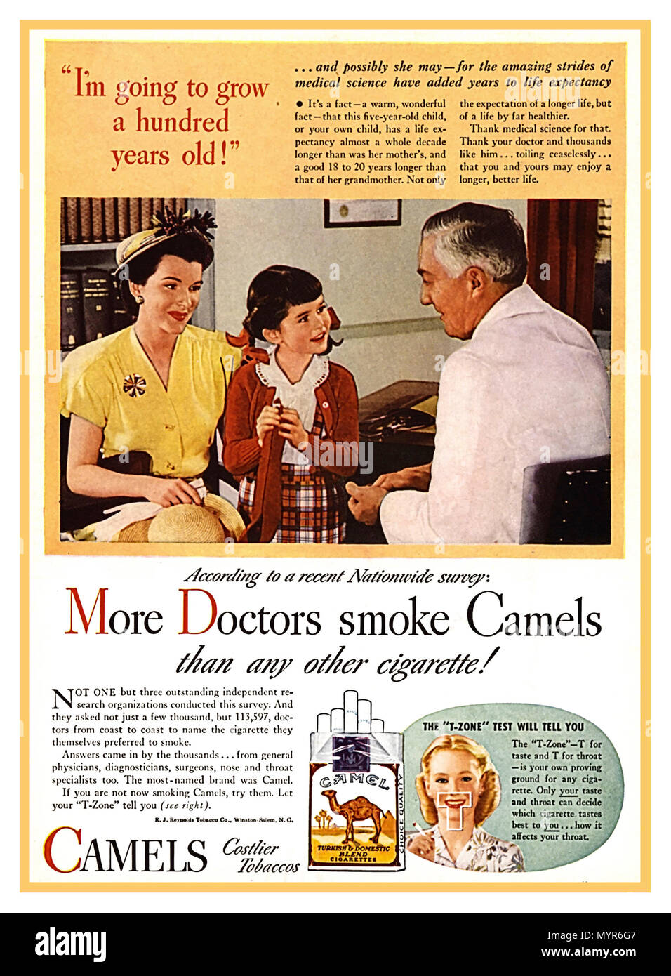 """1940's Vintage Smoking Press Poster Advertisement In 1946, the RJ Reynolds Tobacco Company launched a major new advertising campaign for Camels. Working to establish dominance in a highly competitive market, Reynolds centred its new campaign on the tag line, """"More doctors smoke Camels than any other cigarette"""" On the basis of more than 7,000 articles relating to smoking and disease available at that time in biomedical literature, the Advisory Committee concluded that cigarette smoking was a cause of lung cancer With this, the words 'Smoking Kills' were then branded into public consciousness. - Stock Image"""