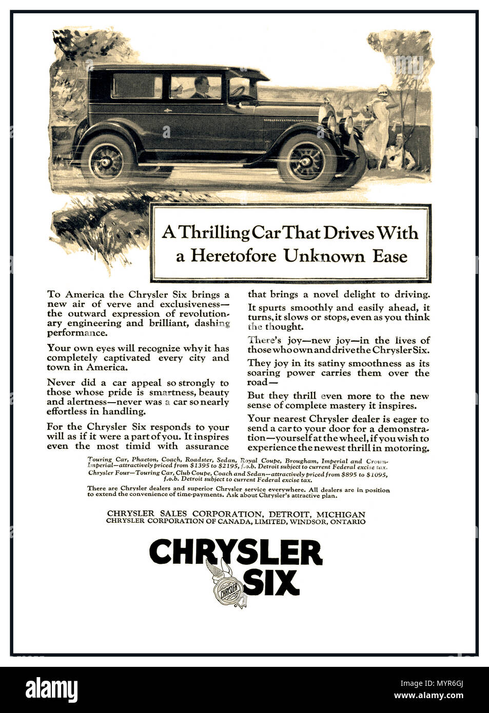Vintage press Advertisement for 1926 Chrysler Six Automobile Car Speed Stability Touring Ad Print poster The car advertised a powerful, six-cylinder engine which could achieve speeds of 70 mph using just 20 miles per gallon. The Chrysler Six also featured aluminum pistons, replaceable oil and air filters, shock absorbers, and standard-equipment hydraulic brakes on all wheels. - Stock Image