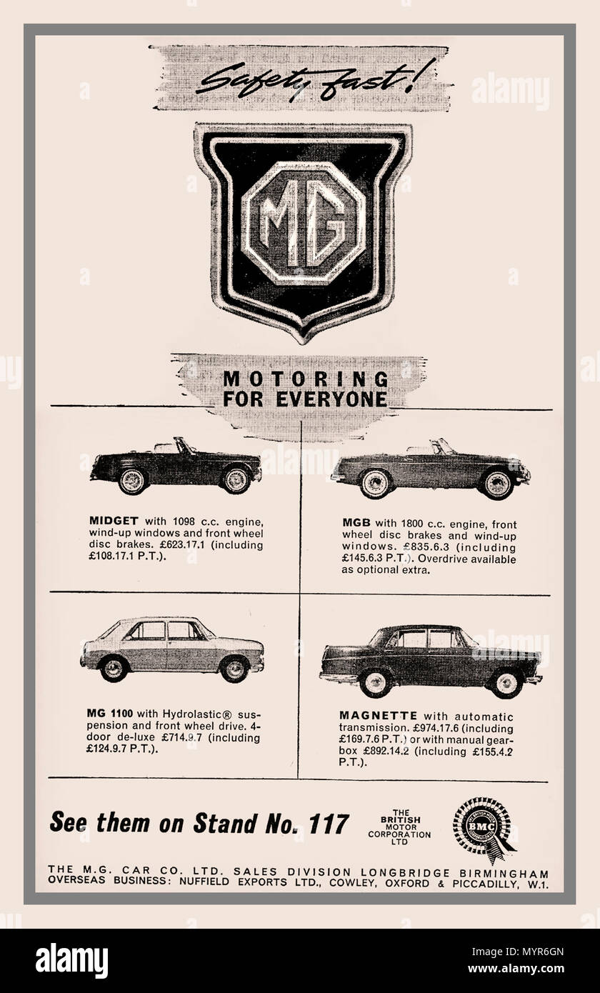 1964 Motor Show MG Press Advertisement for MG range of motor cars - Stock Image