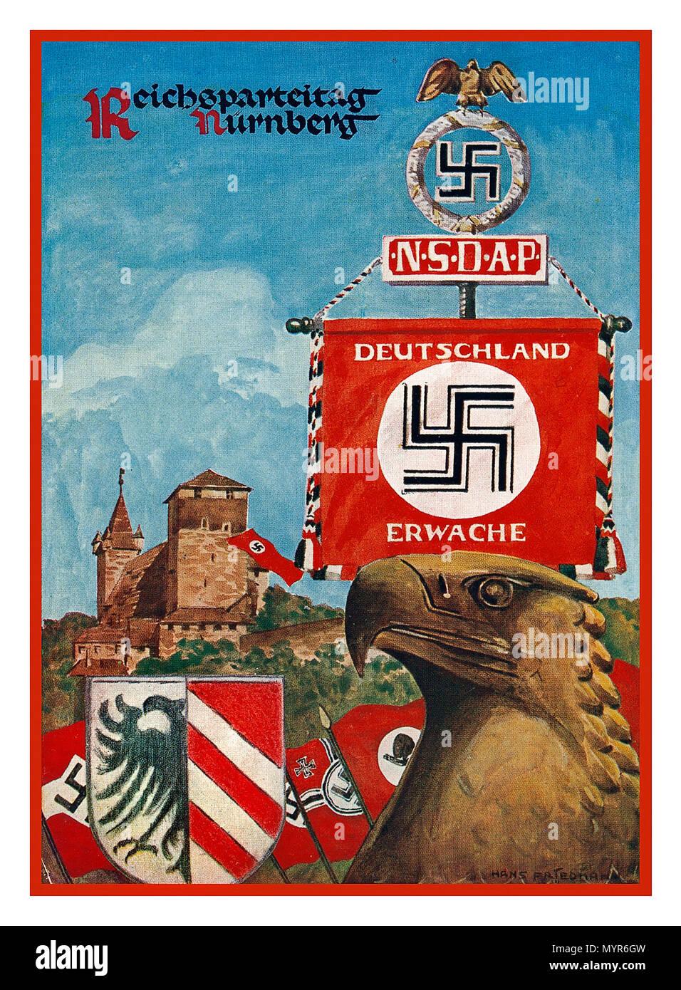 Vintage 1930's Nazi Nuremberg  Rally Poster postcard NSDAP Reichsparteitag Nürnberg 1930's with Swastika banner 'Germany Awake' Nationalsozialistische Deutsche Arbeiter-Partei.--Reichsparteitag - Stock Image