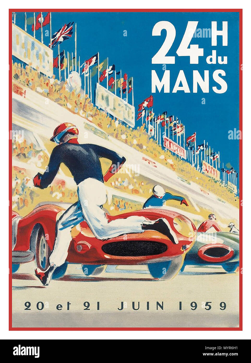 Vintage Le Mans motor racing poster 24 Hours du Mans lithograph 20/21st June 1959 Le Mans France with drivers running to cars traditional start - Stock Image