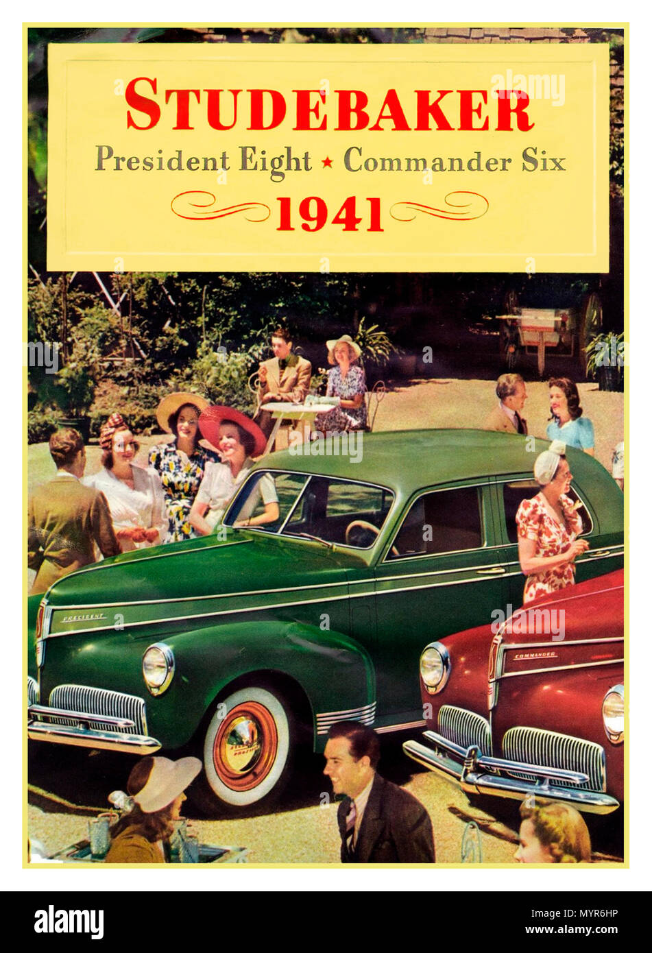 Vintage 1941 American Automobile poster press advertisement for 'The Studebaker President Eight' 'Commander Six'  the premier automobile model manufactured by the Studebaker Corporation of South Bend, Indiana (US) from 1926-1942, the President received a new body style, a four-door sedan with rear-opening rear doors - Stock Image