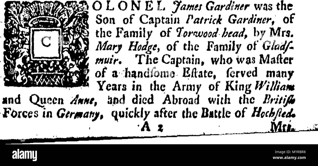 . English: Fleuron from book: An extract of the life of the Honourable Colonel James Gardiner, who was slain at the battle of Prestonpans. September 21st, 1745. 335 An extract of the life of the Honourable Colonel James Gardiner, who was slain at the battle of Prestonpans Fleuron T189048-2 Stock Photo