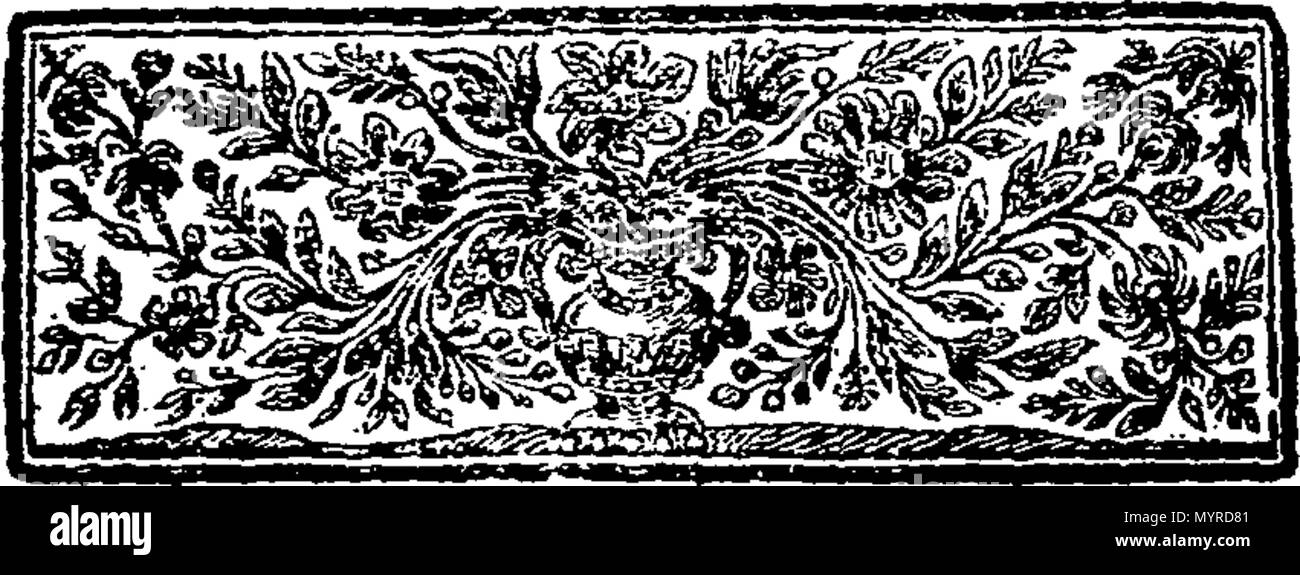 . English: Fleuron from book: An humble proposal for the increase of our home trade, And a Defence to Gibraltar: being a better security for all our shipping that trades in the straights, and entirely checks and restrains the growth of Highway-Men, Foot-Pads, House-Breakers, Shop-Listers, Horse-Stealers, Incendiaries and Others, that are guilty of enormous Crimes; rendering them useful, that in case of a War, it will be above a Hundred Thousand a Year in this Kingdoms way. By Joseph Davies. 344 An humble proposal for the increase of our home trade Fleuron T036811-6 Stock Photo