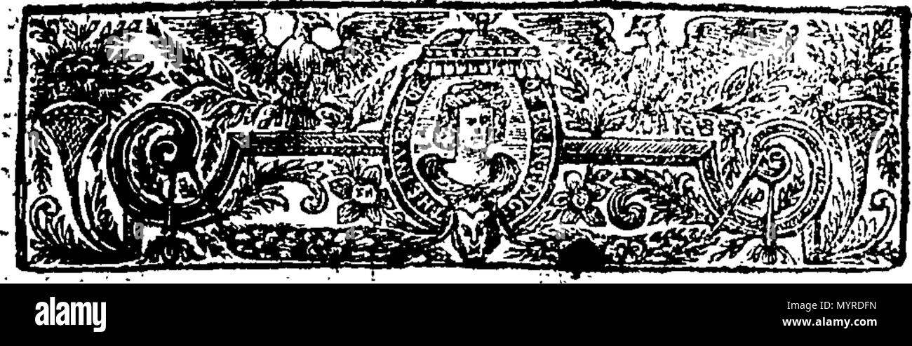 . English: Fleuron from book: An impartial enquiry into the late conduct of the city of London, Relating to the Excise-Bill. Address'd to the Lord-Mayor, Aldermen, Common-Council-Men, and Citizens of London. By a Common-Council-Man of the same City. 344 An impartial enquiry into the late conduct of the city of London, Relating to the Excise-Bill Fleuron T057527-2 - Stock Image