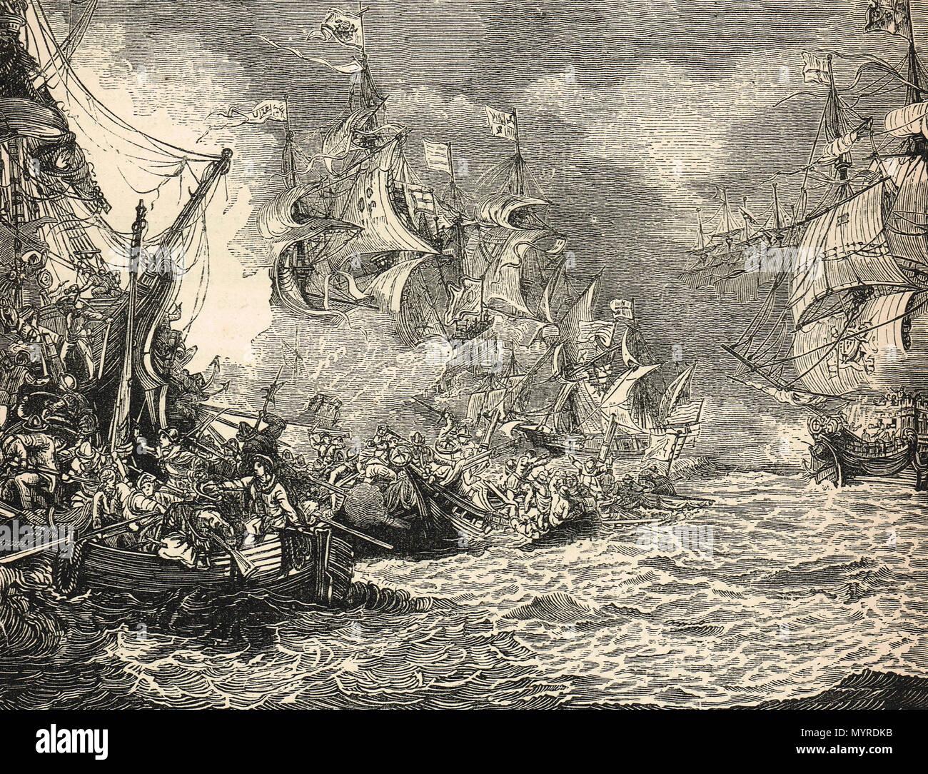 Defeat of the Spanish Armada, 1588 - Stock Image