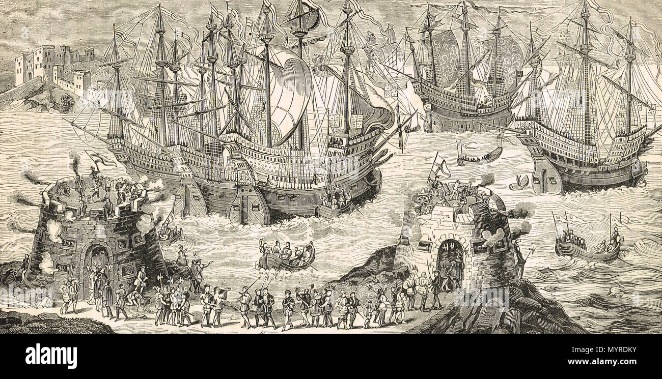 King Henry VIII embarking from Dover, 31 May 1520, on way to meeting with Francis I at the Field of the Cloth of Gold, near Calais, France - Stock Image