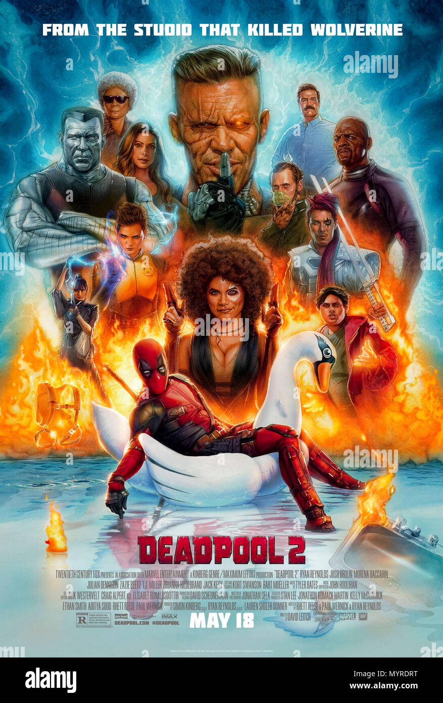 Deadpool 2 (2018) directed by David Leitch and starring Ryan Reynolds, Josh Brolin, and Morena Baccarin. Wade Wilson returns for more irreverent fun. - Stock Image