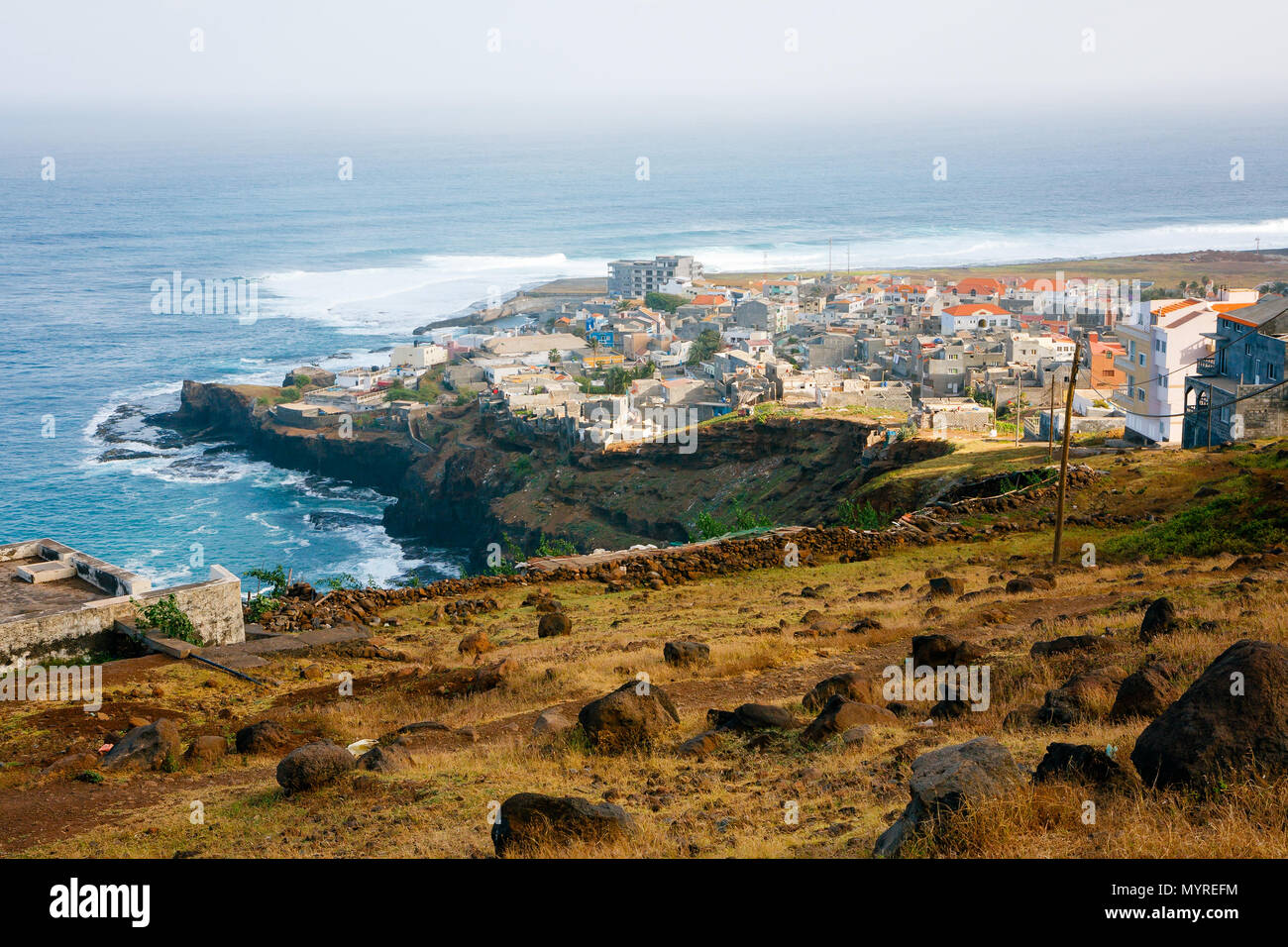 Ponta do Sol Cape Verde. View of the fishing village at the