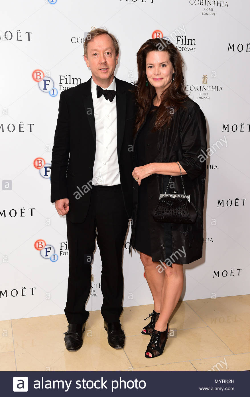 File photo dated 24/9/2014 of Geordie Greig and Kathryn Greig attending the Al Pacino BFI Fellowship dinner, supported by Moet & Chandon, at the Corinthia Hotel, London. Greig's appointment as Daily Mail editor follows the announcement on Wednesday that Paul Dacre is to become chairman and editor in chief of Associated Newspapers. - Stock Image
