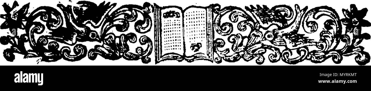 . English: Fleuron from book: An essay to prove that the jurisdiction and conservacy of the River of Thames, &c. is committed to the Lord Mayor, and City of London, Both in Point of Right and Usage, BY Prescription, Charters, Acts of Parliament, Decrees, upon Hearing before the King, Letters-Patents, &c. &c. To which is added. A brief Description of those Fish, with their Seasons, Spawning-Times, &c. that are caught in the Thames, or sold in London. With Some few Observations on the Nature, Element, Cloathing, Numbers, Passage, Wars, and Sensation, &c. peculiar to Fish in general. And, Also, O - Stock Image