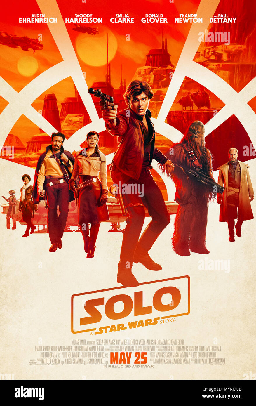 Solo: A Star Wars Story (2018) directed by Ron Howard and starring Alden Ehrenreich, Woody Harrelson, Emilia Clarke and Donald Glover. A pre-prequel look at the early lives of Han Solo, Chewbacca and Lando Calrissian. - Stock Image