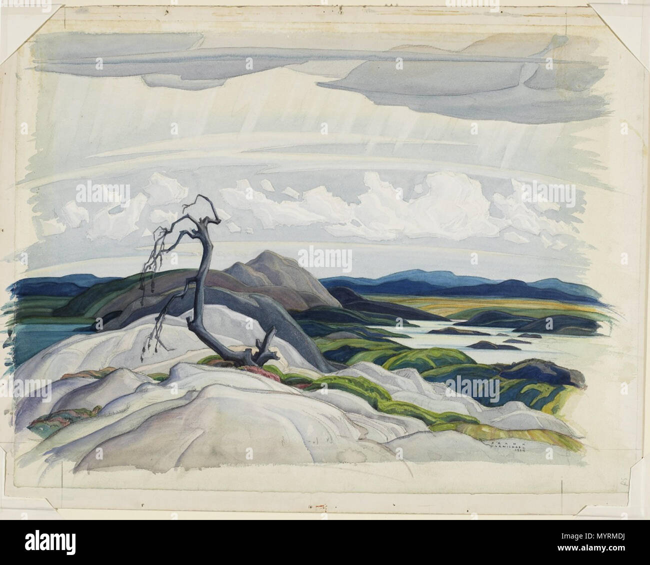 . English: Franklin Carmichael, The Whitefish Hills, 1929, watercolour over graphite on wove paper, 51.8 x 69.1 cm  . 21 December 2005, 10:41:26. Franklin Carmichael 1 Franklin Carmichael - The Whitefish Hills Stock Photo