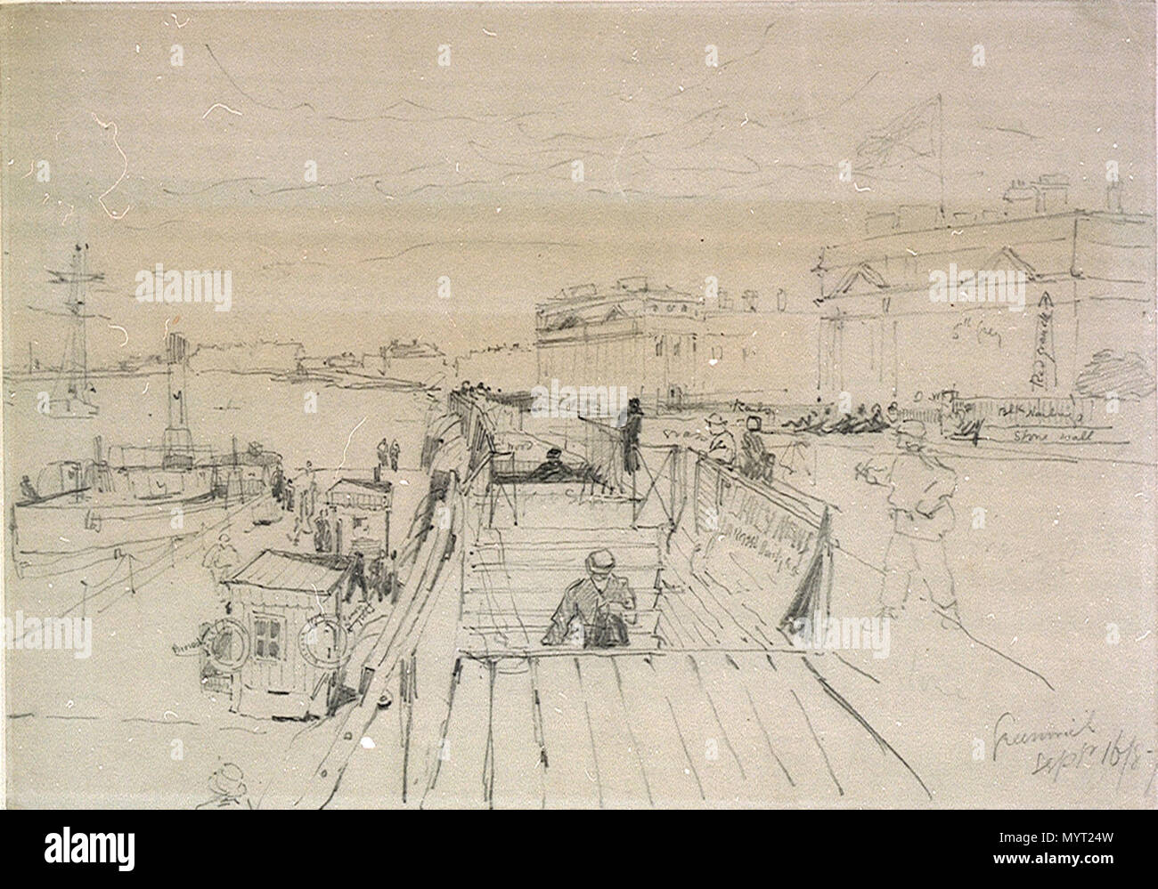 English annotated drawing of greenwich pier with a view of the hospital buildings a