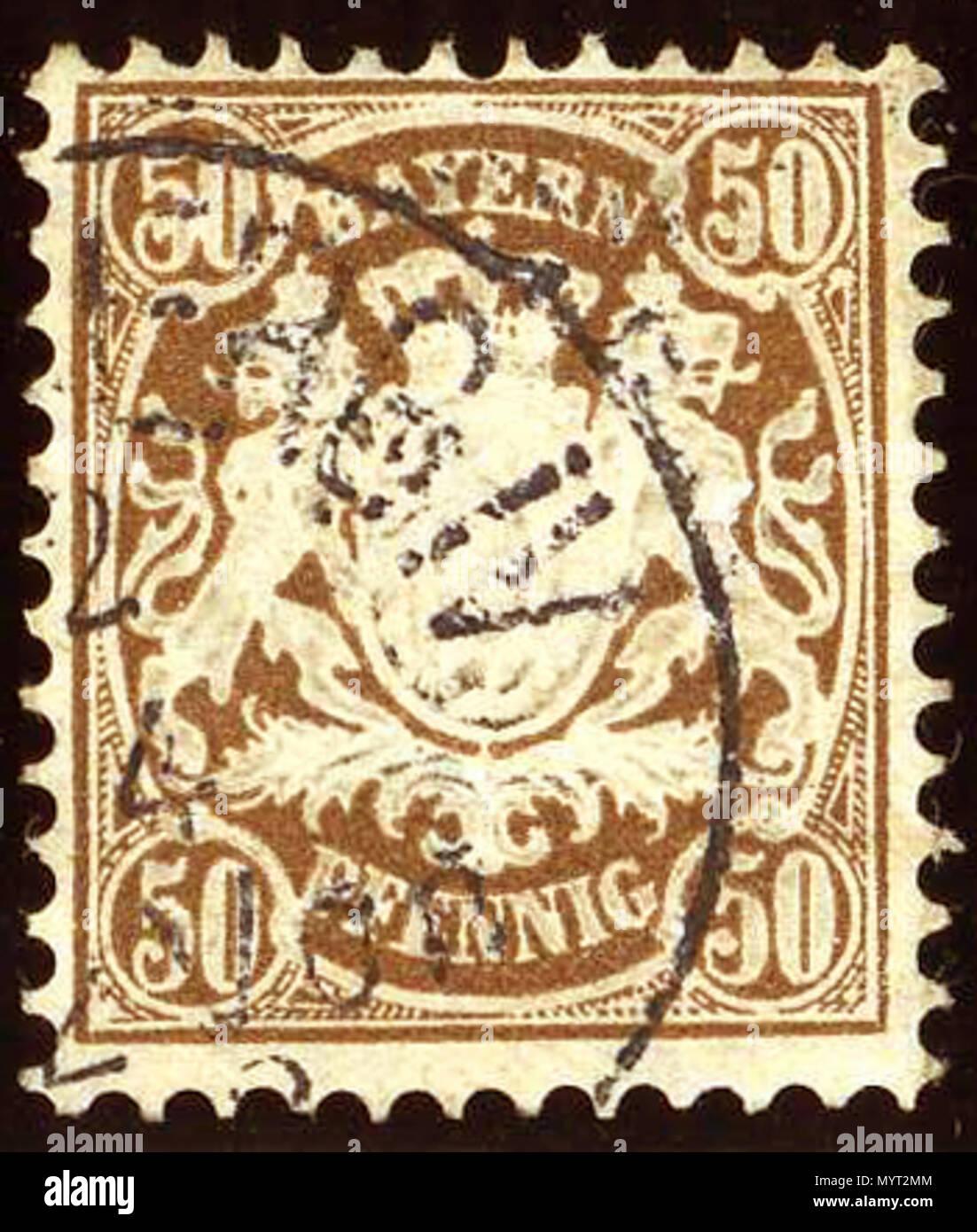 . English: 50 Pfennig deep brown, Kingdom of Bavaria issue 1881. Cancelled at NURENBERG (?) IV. Michel N°52.  . 9 December 2016, 21:21:07. Jacquesverlaeken 1 1881issue 50Pfg Bayern Mi52 - Stock Image