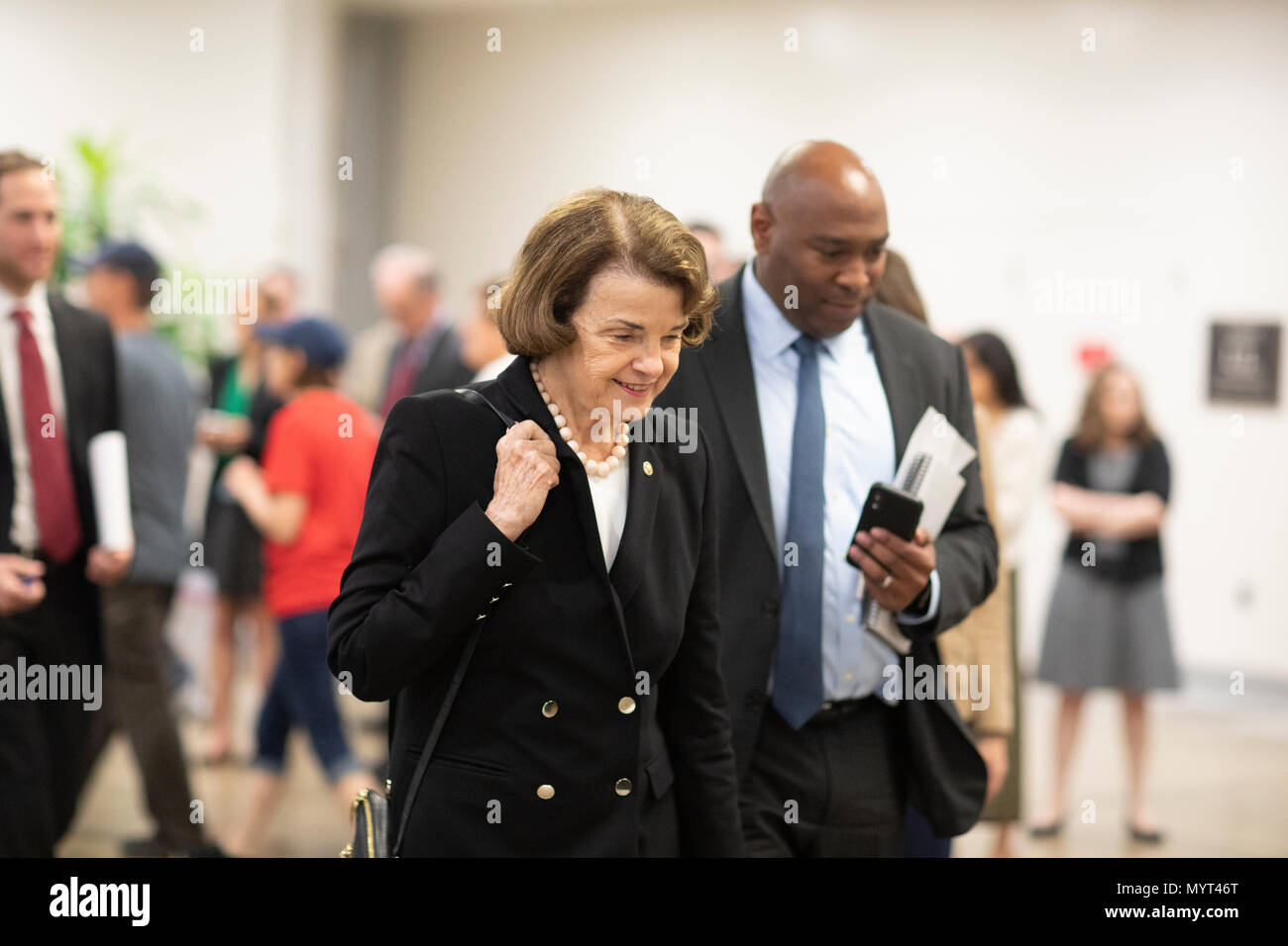 United States Senator Dianne Feinstein, Democrat of California, talks with reporters in the Senate Subway during a Senate vote on Capitol Hill in Washington, DC on July 7, 2018. Credit: Alex Edelman/CNP /MediaPunch - Stock Image