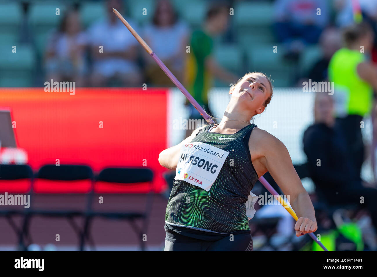 Oslo, Norway. 7th June 2018, Bislett stadium, Oslo, Norway; Bislett Games, Diamond League Athletics meeting; Christin Hussong of Germany competes in the ladies javelin during the IAAF Diamond League held at the Bislett Stadium Credit: Action Plus Sports Images/Alamy Live News - Stock Image