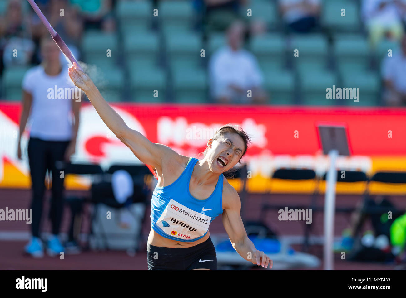 Oslo, Norway. 7th June 2018, Bislett stadium, Oslo, Norway; Bislett Games, Diamond League Athletics meeting; Huihui Lyn of China competes in the ladies javelin during the IAAF Diamond League held at the Bislett Stadium Credit: Action Plus Sports Images/Alamy Live News - Stock Image