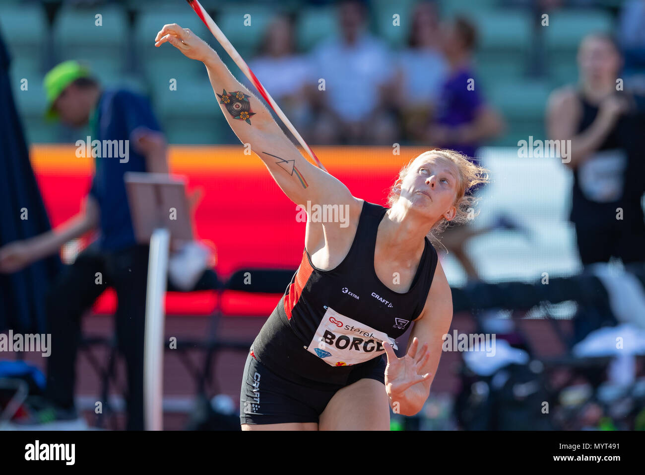 Oslo, Norway. 7th June 2018, Bislett stadium, Oslo, Norway; Bislett Games, Diamond League Athletics meeting; Sigrid Borge of Norway competes in the ladies javelin during the IAAF Diamond League held at the Bislett Stadium Credit: Action Plus Sports Images/Alamy Live News - Stock Image