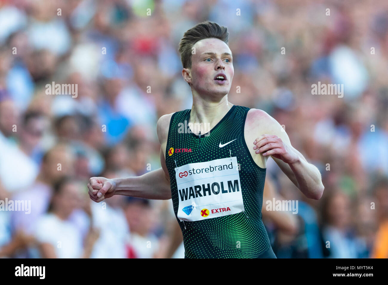 Oslo, Norway. 7th June 2018, Bislett stadium, Oslo, Norway; Bislett Games, Diamond League Athletics meeting; Karsten Warholm of Norway reacts during the IAAF Diamond League held at the Bislett Stadium Credit: Action Plus Sports Images/Alamy Live News - Stock Image