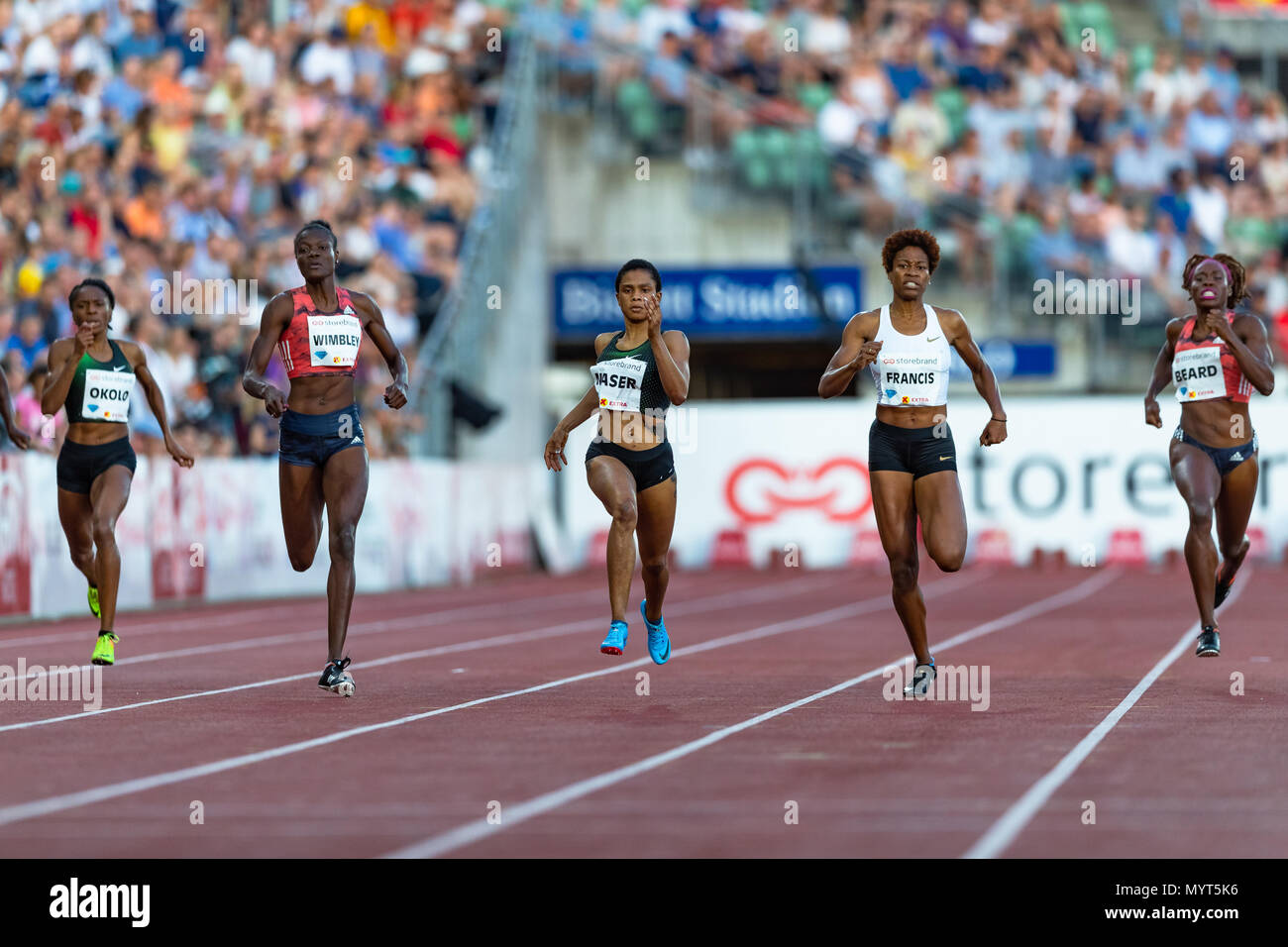 Oslo, Norway. 7th June 2018, Bislett stadium, Oslo, Norway; Bislett Games, Diamond League Athletics meeting; Courtney Okolo of United States, Shakima Wimbley of United States. Salwa Eid Naser of Bahrain, Phyllis Francis of United States, Jessica Beard of United States compete in the ladies 100m during the IAAF Diamond League held at the Bislett Stadium Credit: Action Plus Sports Images/Alamy Live News - Stock Image