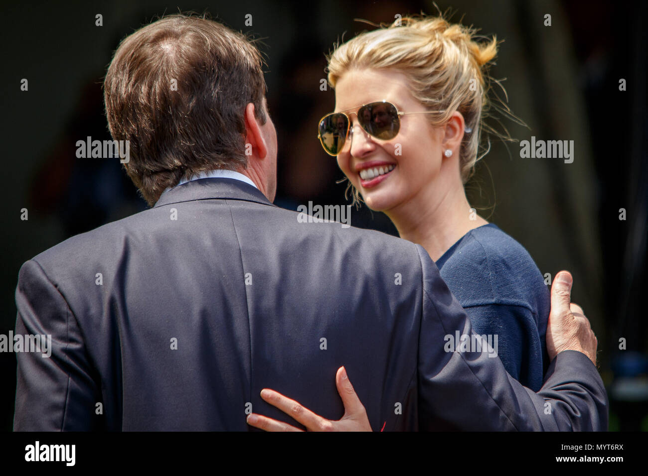 Washington DC, USA. 7th June, 2018. Ivanka Trump, daughter of and advisor to President Donald Trump, arrives for a press conference with Japanese Prime Minister Shinzo Abe. Credit: Michael Candelori/Alamy Live News - Stock Image