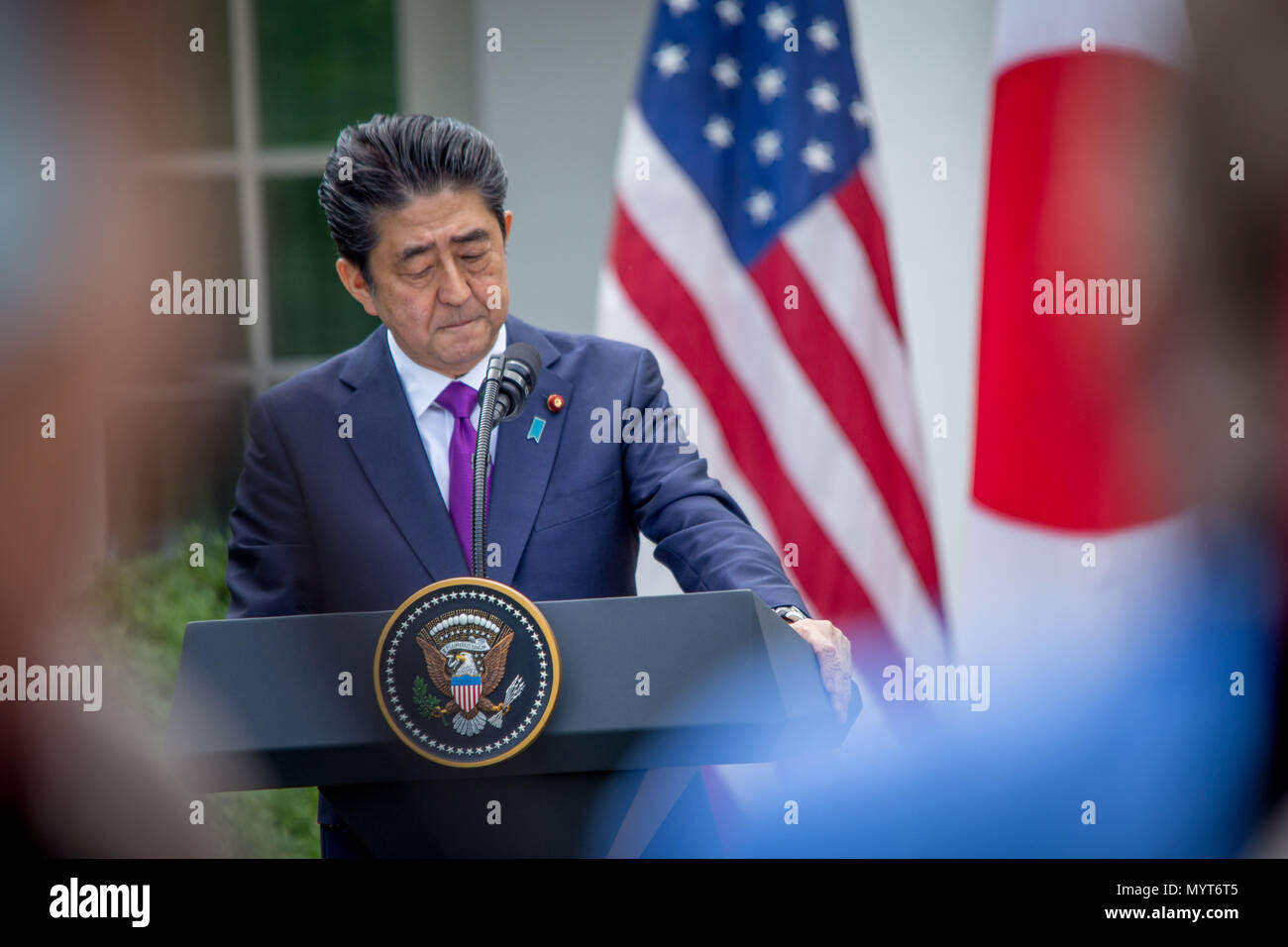Washington DC, USA. 7th June, 2018. President Donald Trump and Japanese Prime Minister Shinzo Abe hold a press conference after meeting in the Oval office. Credit: Michael Candelori/Alamy Live News - Stock Image