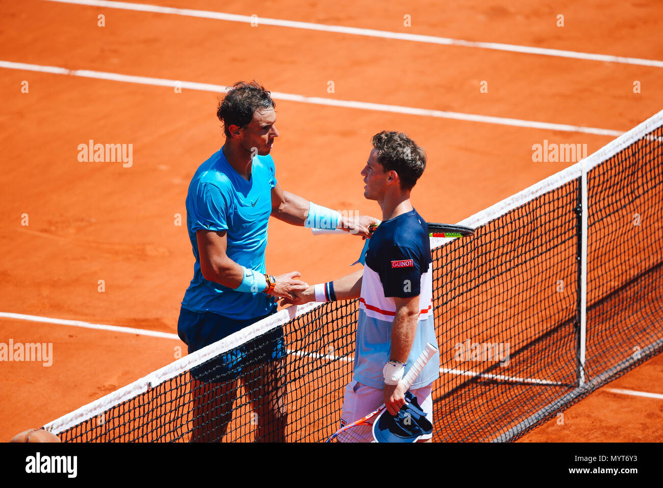 Paris france 7th june 2018 rafael nadal esp diego schwartzman rafael nadal esp diego schwartzman arg tennis rafael nadal of spain and diego schwartzman of argentina greet each other after the mens singles m4hsunfo