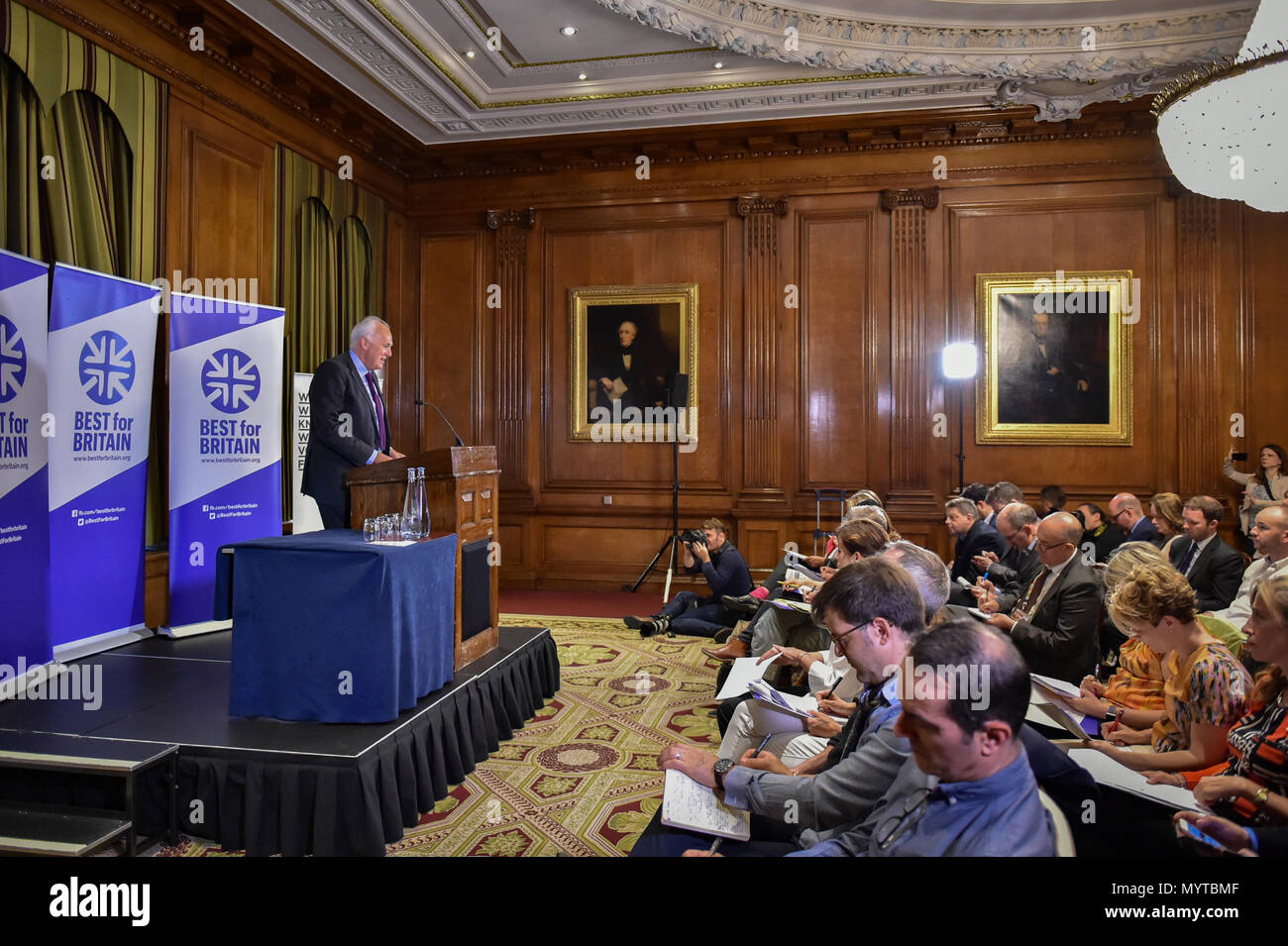 London, United Kingdom. 8 June 2018. Campaign group 'Best for Britain' hold a press conference with CEO Eloise Todd and Chairman Lord Malloch-Brown to launch their roadmap to stopping Brexit. Credit: Peter Manning/Alamy Live News - Stock Image