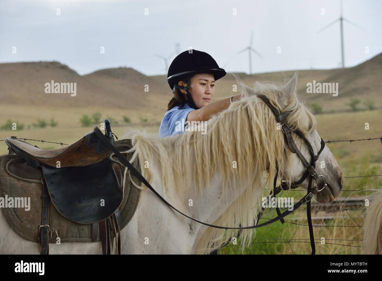 (180608) -- XILINHOT, June 8, 2018 (Xinhua) -- A mounted policewoman prepares her horse while patrolling along railroad in Xilinhot, north China's Inner Mongolia Autonomous Region, June 7, 2018. In order to keep railroads in operation, mounted police in Xilinhot are busy repairing broken safety net and checking livestock intrusion while patrolling along railroads. (Xinhua/Zou Yu) (wyl) - Stock Image