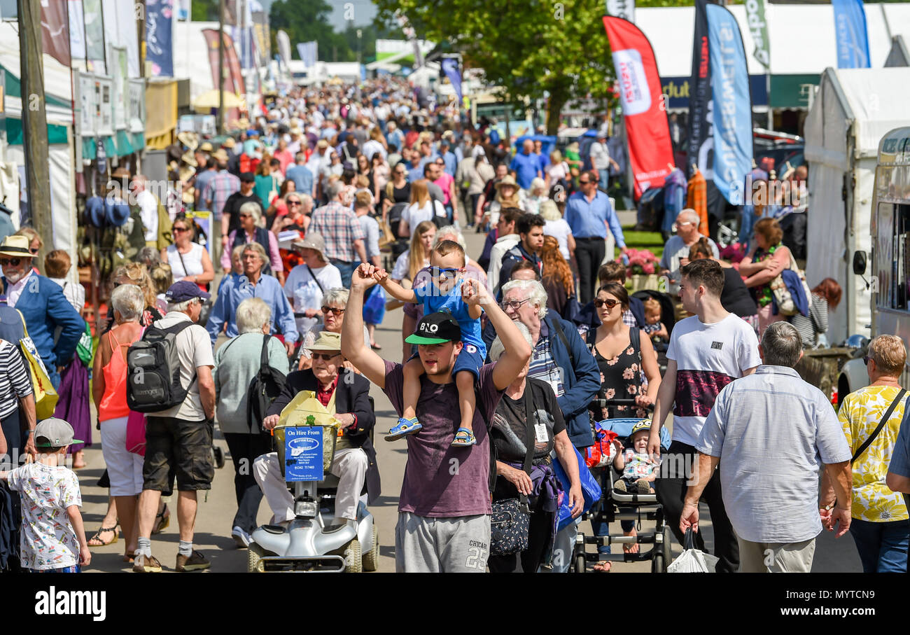 Ardingly Sussex UK 8th June 2018 - Huge crowds enjoy the sunny weather  at the South of England Show  held at the Ardingly Showground near Haywards Heath Sussex Credit: Simon Dack/Alamy Live News - Stock Image