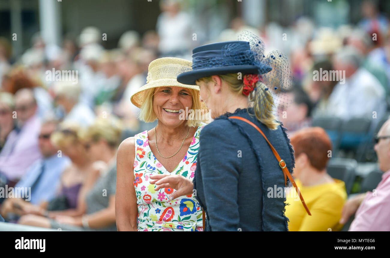 Ardingly Sussex UK 8th June 2018 - Smart hats at the South of England Show in beautiful sunny weather held at the Ardingly Showground near Haywards Heath Sussex Photograph by Simon DackCredit: Simon Dack/Alamy Live News Stock Photo