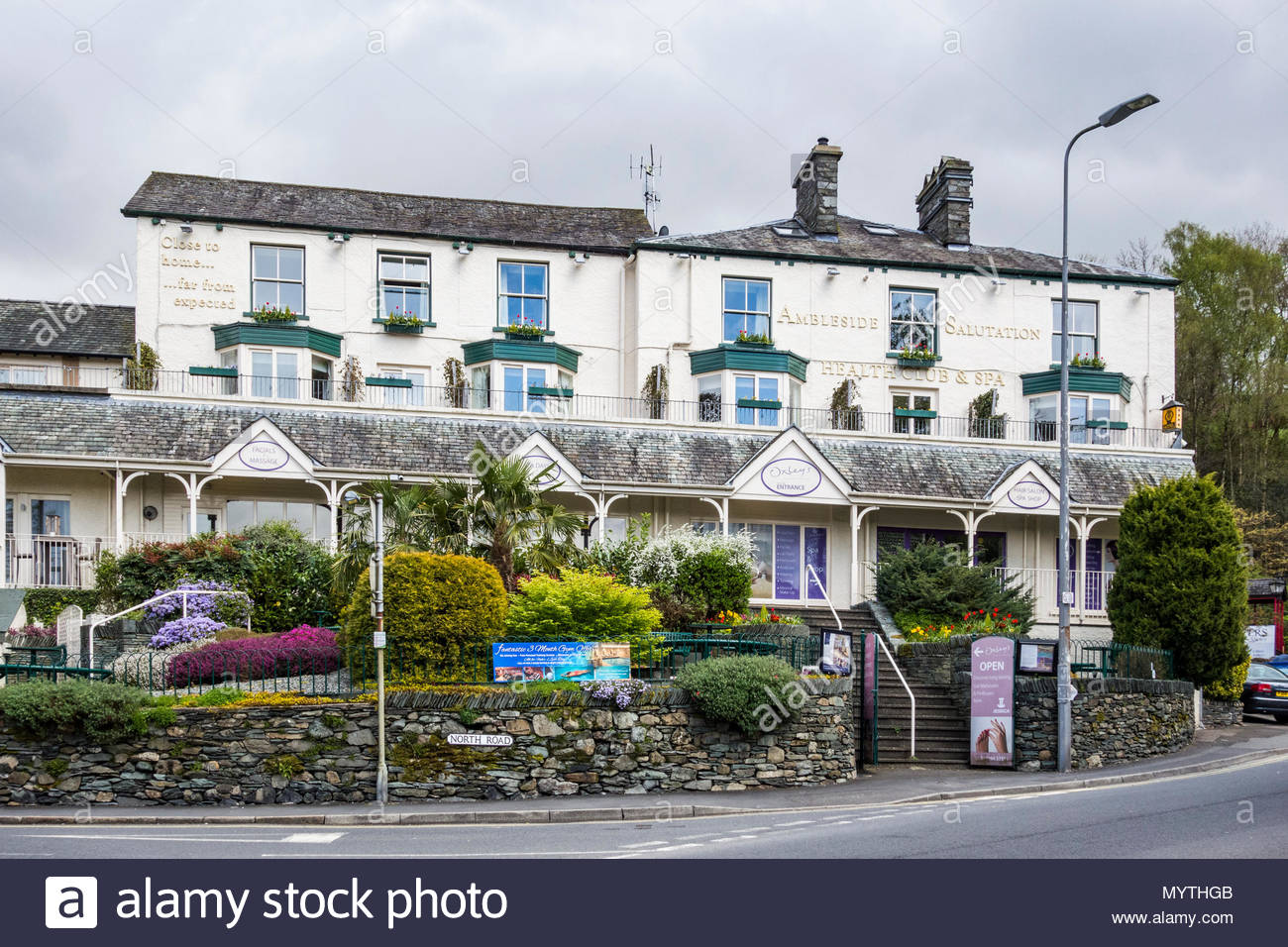 The Ambleside Salutation Health Club and Spa in a prominent position in the town of Ambleside, Cumbria - Stock Image