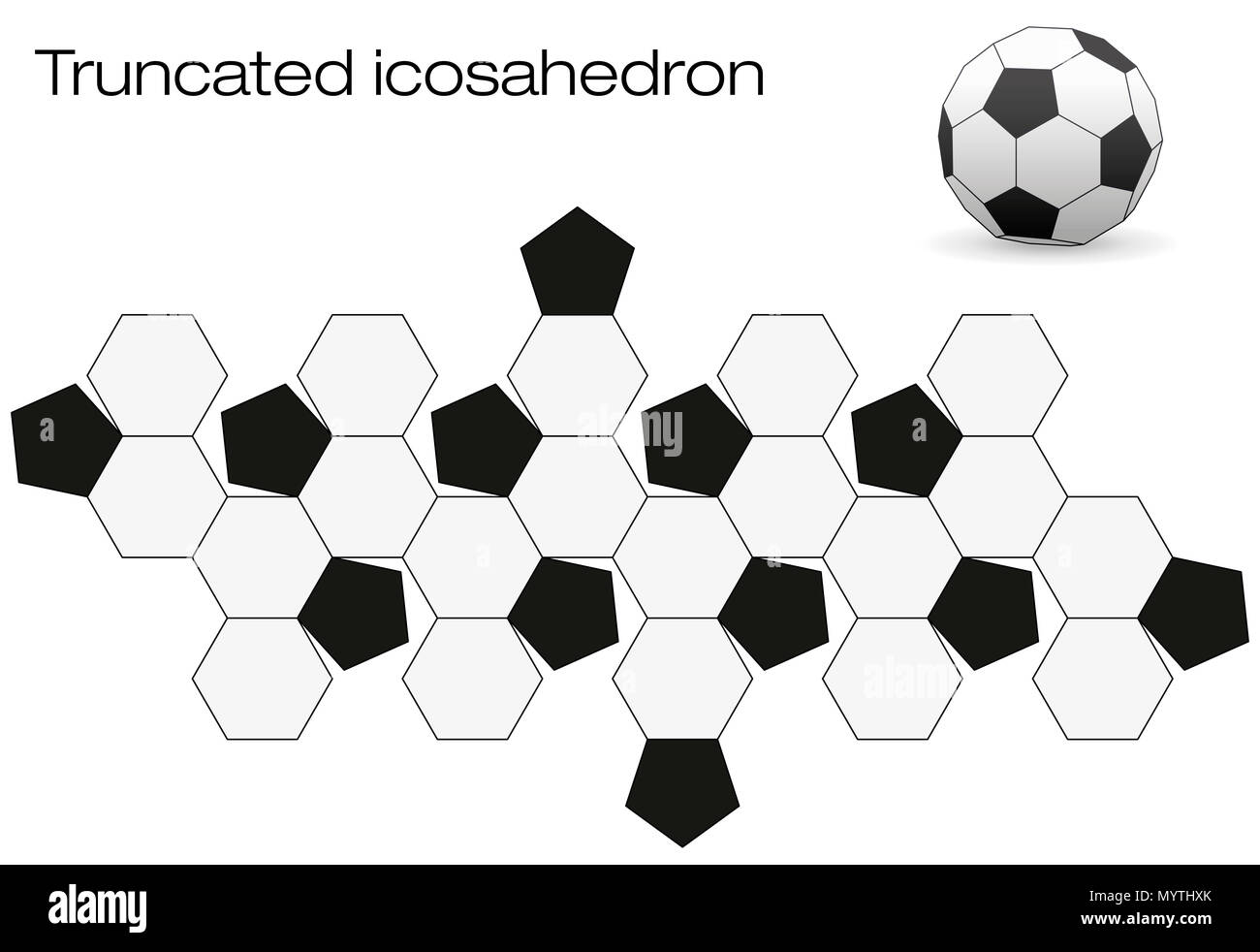 Unfolded soccer ball surface. Geometric polyhedron called truncated icosahedron, an Archimedean solid with twelve black and twenty white faces. - Stock Image