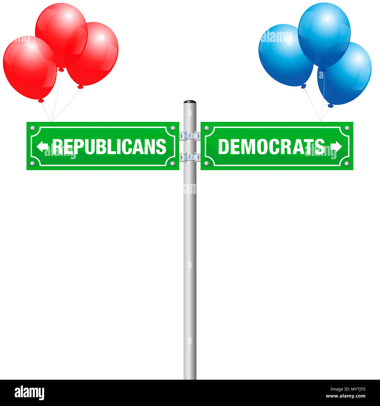 DEMOCRATS or REPUBLICANS, written on street signs with red and blue balloons to choose ones favorite party, government, politics, ideology. - Stock Image