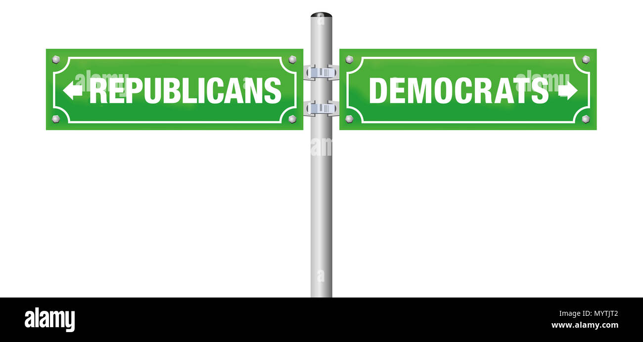 REPUBLICANS or DEMOCRATS, written on street signs to choose ones favorite party, government, politics, ideology. - Stock Image