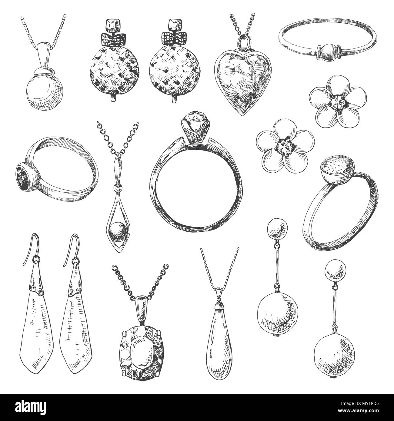 Hand drawn a set of different jewelry. Vector illustration of a sketch style. - Stock Image