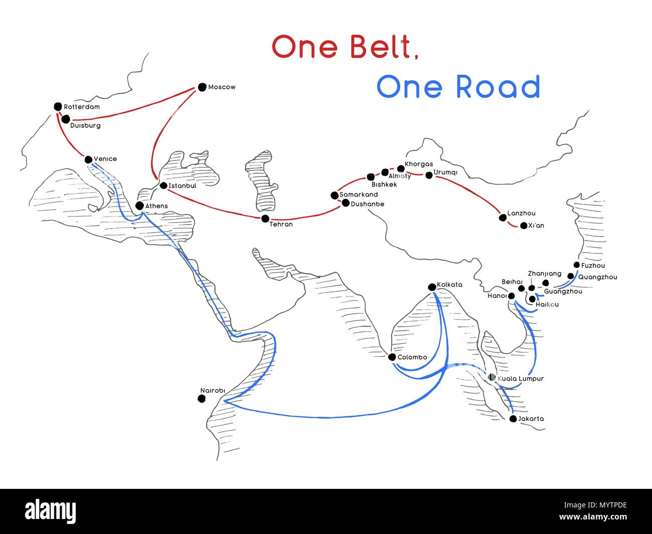 One Belt One Road new Silk Road concept. 21st-century connectivity and cooperation between Eurasian countries. Vector illustration. - Stock Vector