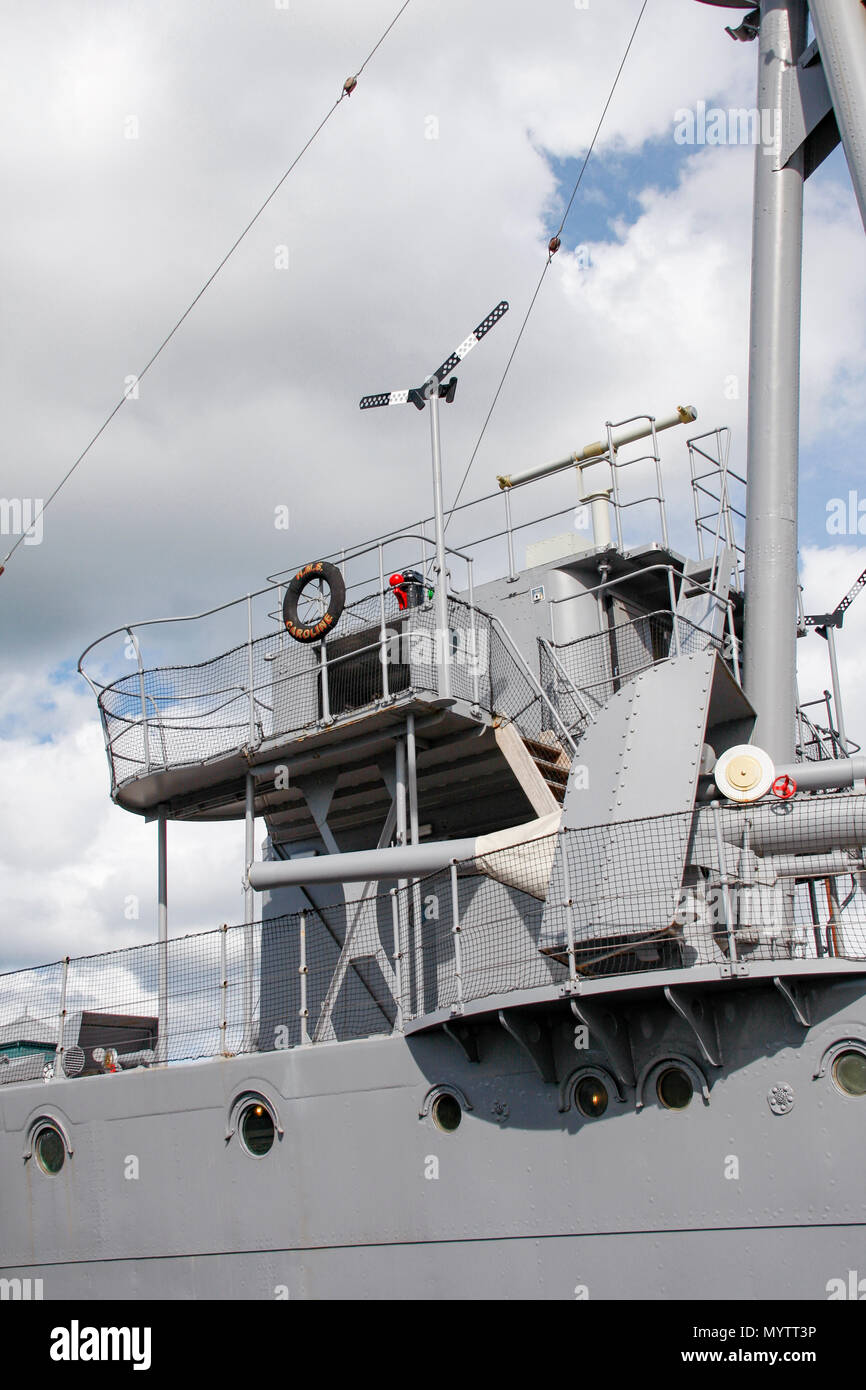 Gun placement on HMS Caroline, a restored World War 1 battleship moored in Titanic Quarter, Belfast and the last survivor of the Battle of Jutland Stock Photo