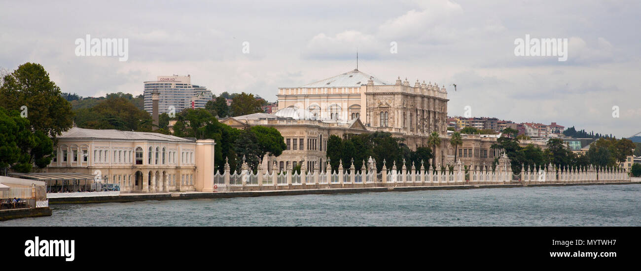 September 1, 2014: Istanbul, Turkey- The former site of the Ottoman Empire sits grandly on the waterfront, now known as the Dolmabahce Palace - Stock Image