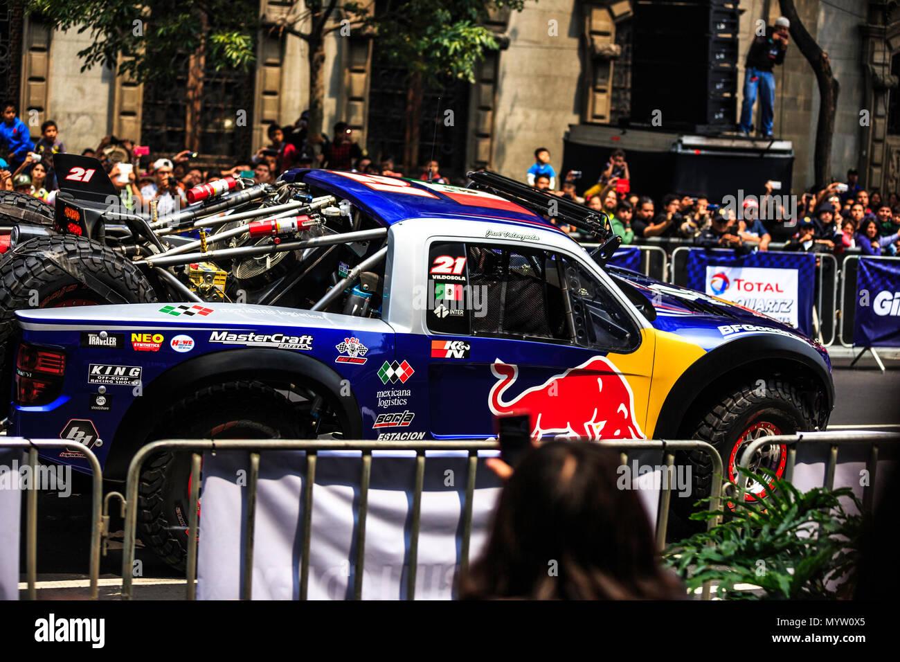 Mexico City, Mexico - June 27, 2015: Gustavo Vildosola driving around the Zocalo Square and 20 de Noviembre street, at the Infiniti Red Bull Racing F1 Showrun. - Stock Image