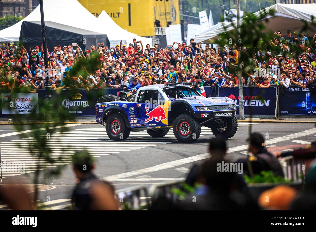 Mexico City, Mexico - June 27, 2015: Gustavo Vildosola driving around the Zocalo Square, at the Infiniti Red Bull Racing F1 Showrun. - Stock Image
