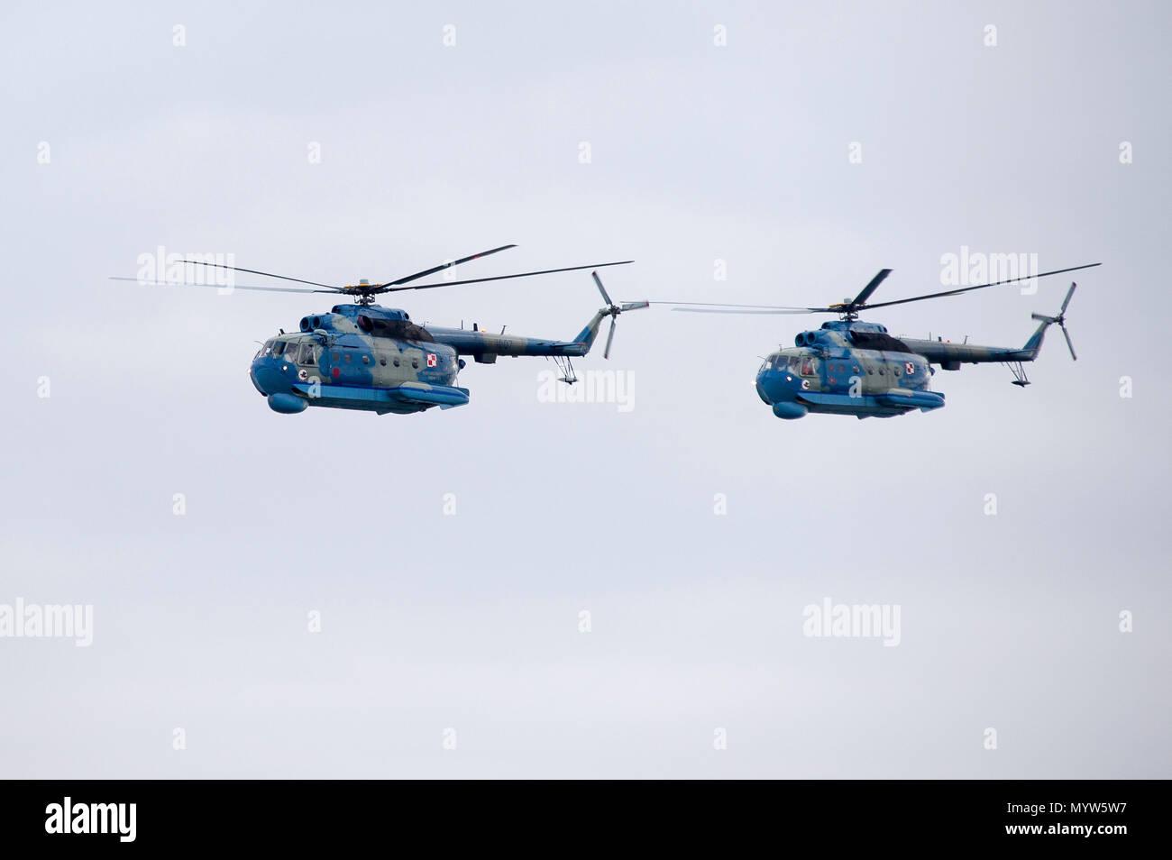 Soviet made Polish Navy anti submarine helicopter Mi-14 PL in Gdynia, Poland. January 14th 2017 © Wojciech Strozyk / Alamy Stock Photo - Stock Image