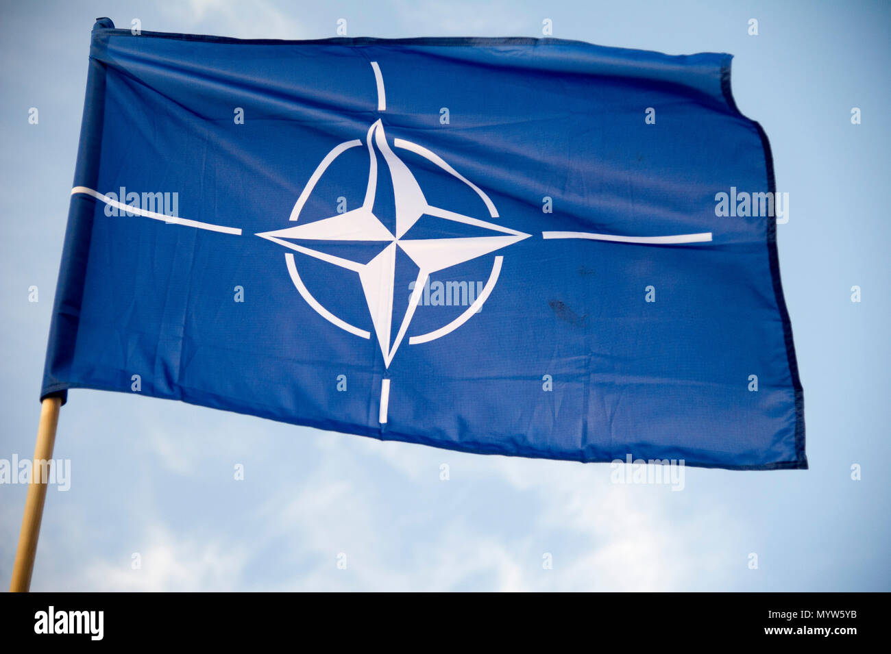 North Atlantic Treaty Organization NATO flag in Gdynia, Poland. January 14th 2017 © Wojciech Strozyk / Alamy Stock Photo Stock Photo