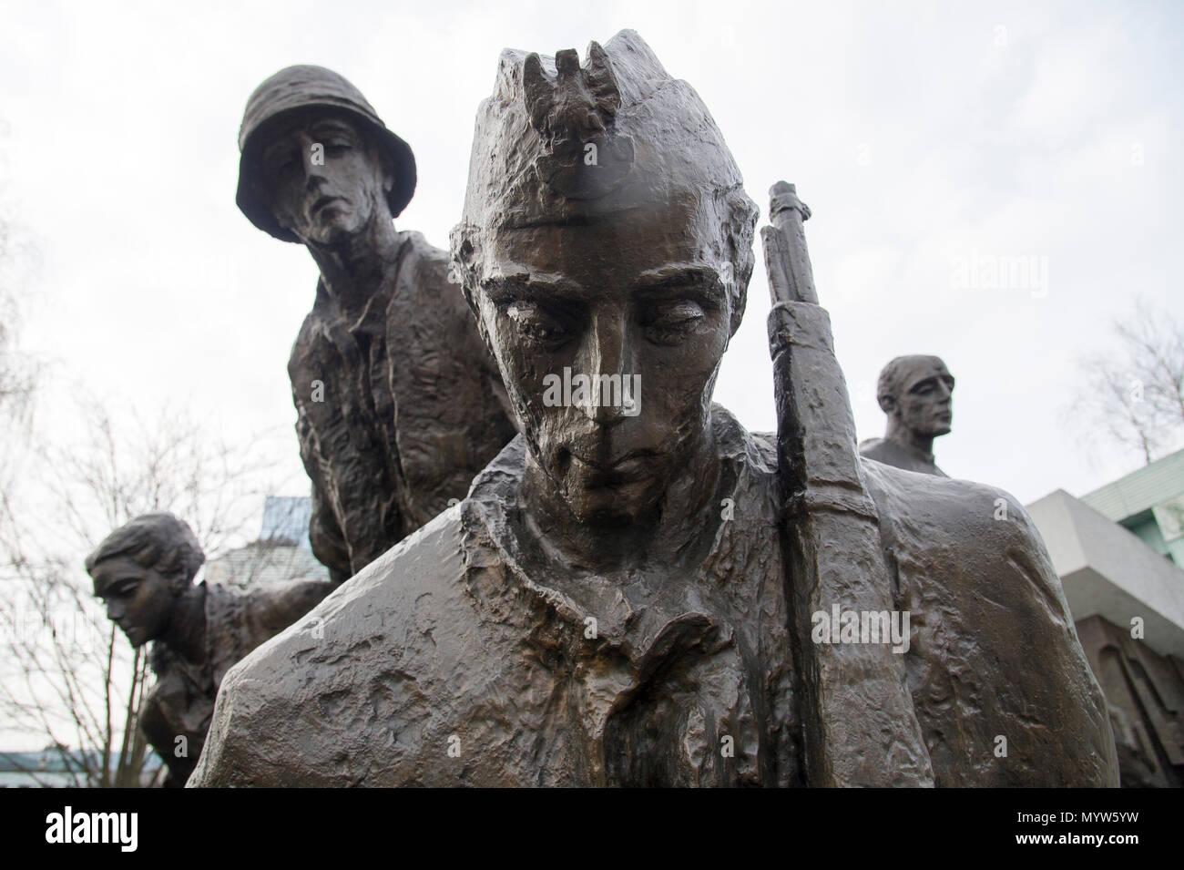 Warsaw Uprising Monument (Pomnik Powstania Warszawskiego) on Krasinski Square in Warsaw, Poland. 21 March 2017. Monument shows Polish resistance fight Stock Photo
