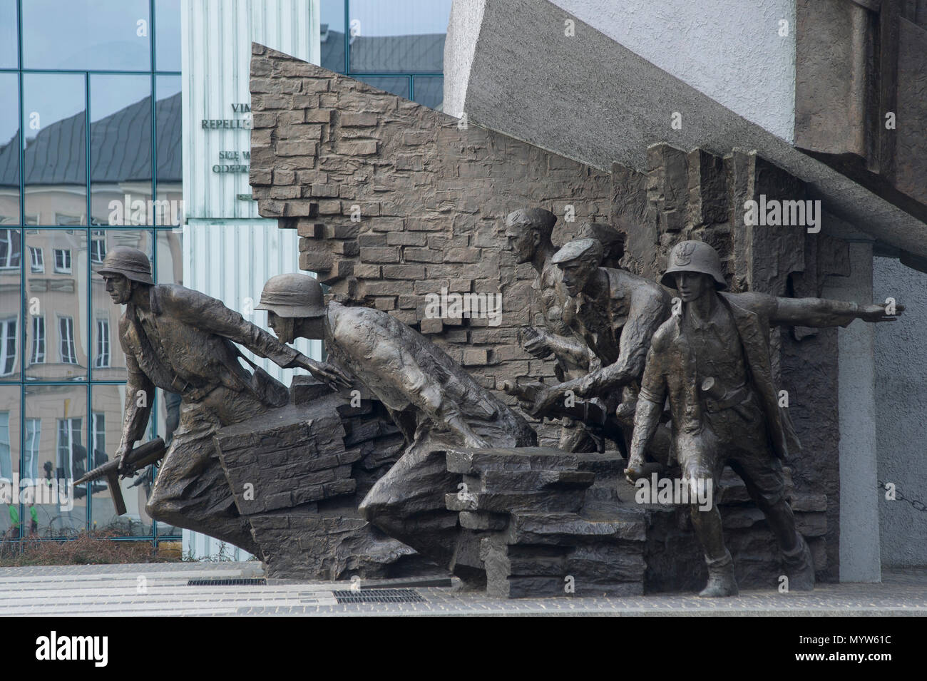 Warsaw Uprising Monument (Pomnik Powstania Warszawskiego) on Krasinski Square in Warsaw, Poland. 21 March 2017. Monument shows Polish resistance fight Stock Photo